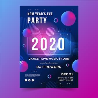 Pontos e bolhas abstraem panfleto de ano novo 2020