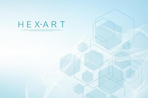 Pontos e linhas abstratas de tecnologia conectam fundo com hexágonos. grade hexagonal. dados digitais de conexão de hexágonos e conceito de big data. visualização de dados digitais hexadecimais. ilustração vetorial.