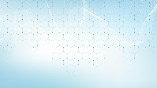 Pontos e linhas abstratas de tecnologia conectam fundo com hexágonos. grade hexagonal.