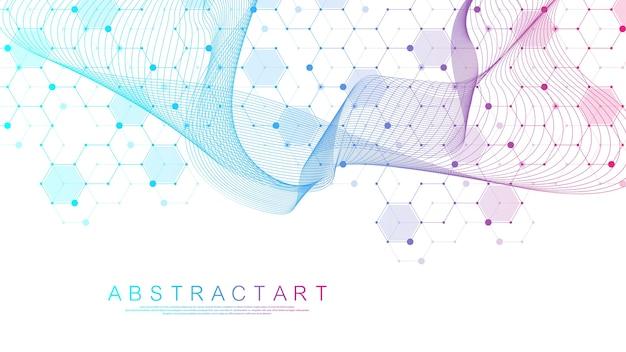 Pontos e linhas abstratas de tecnologia conectam fundo com hexágonos.