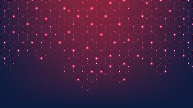 Pontos e linhas abstratas de tecnologia conectam o fundo com hexágonos. grade hexagonal.