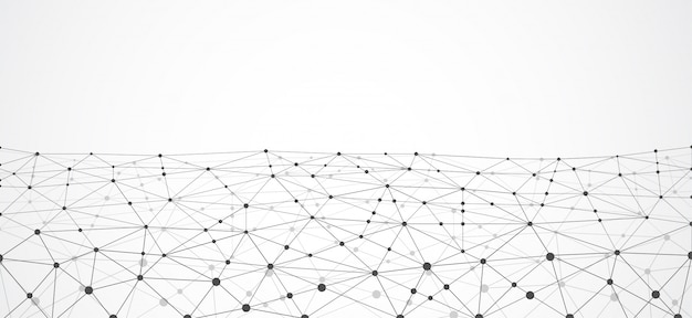 Pontos e linhas de conexão geométricas abstratas