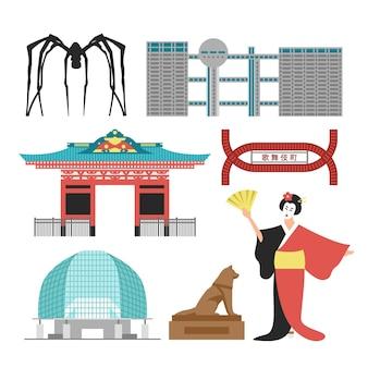 Pontos turísticos arquitetônicos em tóquio