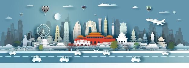 Pontos turísticos da china em estilo recortado de papel