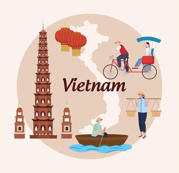 Pontos turísticos e pessoas do vietnã