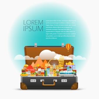 Pontos turísticos mundialmente famosos de dirrefent. ilustração em vetor viagens. modelo para um texto