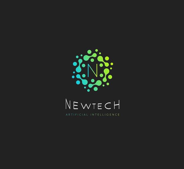 Pontos verdes do logotipo de vetor de nova tecnologia com modelo de monograma moderno da letra n em fundo preto