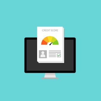 Pontuação de crédito no computador monitor