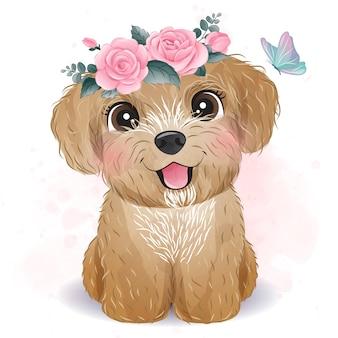 Poodle pequeno bonito com ilustração floral