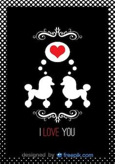 Poodles cartão vetor amor