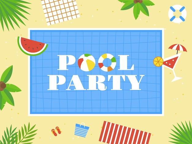 Pool party, top view vetor de piscina
