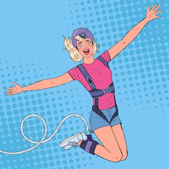 Pop art animada e linda mulher pulando bungee
