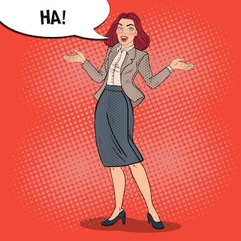 Pop art animado mulher de negócios feliz.
