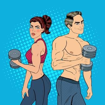 Pop art atlético homem e mulher exercitando com halteres. ilustração