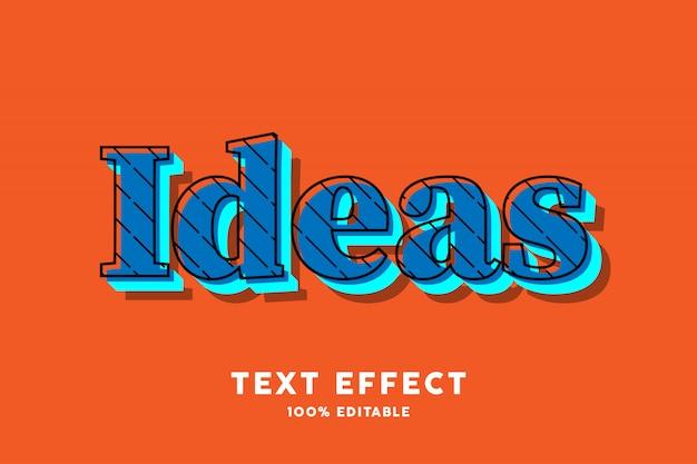 Pop art azul no efeito de texto laranja
