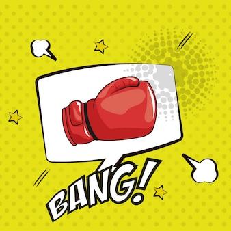 Pop art bang luva figth bubble speech