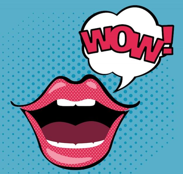 Pop art boca aberta com bolha do discurso de wow.