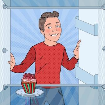 Pop art boy vê bolo delicioso na geladeira