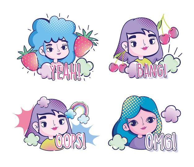 Pop art cartoon meninas frutas nuvens arco-íris cômico letras ícones de meio-tom