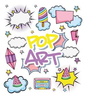 Pop art cartoons coleção ilustração vetorial design gráfico