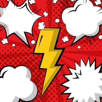Pop art comic thunderbolt padrão de bolhas do discurso