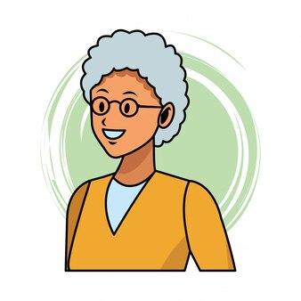 Pop art de perfil de mulher velha