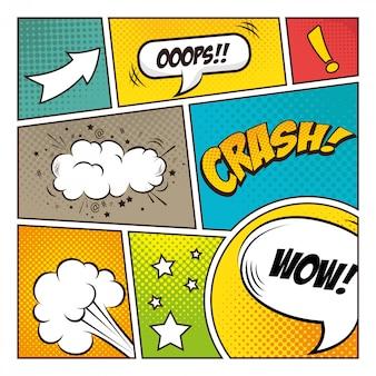 Pop art design de bolhas em quadrinhos