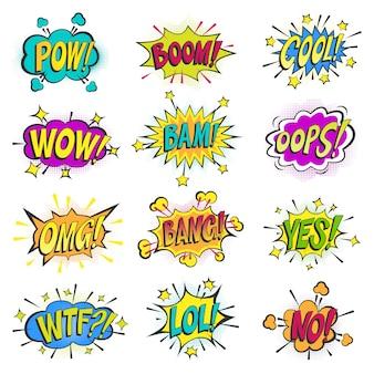 Pop art em quadrinhos bolhas dos desenhos animados popart balão borbulhando colorido discurso nuvem asrtistic quadrinhos formas na ilustração de fundo branco
