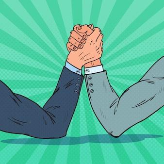 Pop art empresário com mãos na luta de braços