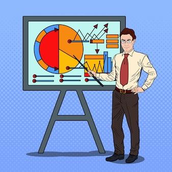 Pop art empresário com ponteiro stick apresentando o gráfico de negócios.
