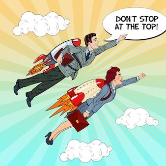 Pop art empresário e mulher voando em foguetes. conceito criativo de arranque.