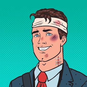 Pop art espancado empresário positivo. homem ferido ferido.