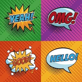 Pop art expressões colorido bolha de discurso