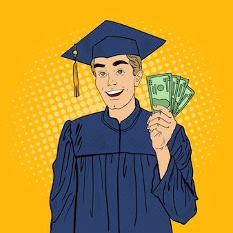 Pop art feliz estudante graduado com dinheiro
