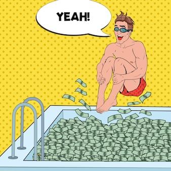 Pop art feliz homem pulando para a piscina de dinheiro. empresário de sucesso. sucesso financeiro, conceito de riqueza.