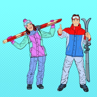 Pop art feliz mulher e homem com esqui nas férias de inverno.