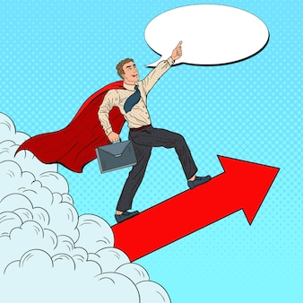 Pop art herói super empresário voando pelas nuvens. liderança de motivação empresarial.