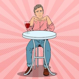 Pop art homem bonito apaixonado por uma taça de vinho