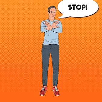Pop art homem gesticulando sinal de mão parada. guy se recusando a algo.