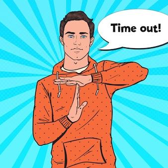 Pop art homem gesticulando sinal de tempo limite.