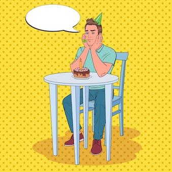 Pop art homem infeliz comemorando aniversário sozinho