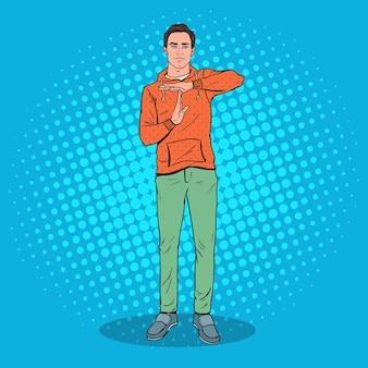 Pop art homem mostrando sinal de gesto de mão de tempo limite.