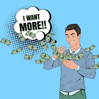 Pop art homem rico jogando notas de dólar. empresário de sucesso com dinheiro.