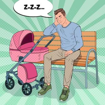 Pop art insone jovem pai sentado no banco do parque com o carrinho de bebê. conceito de paternidade. homem exausto com filho recém-nascido.