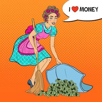 Pop art jovem dona de casa escondendo dinheiro debaixo do tapete.