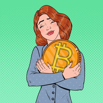 Pop art jovem mulher de negócios segurando uma grande moeda de bitcoin