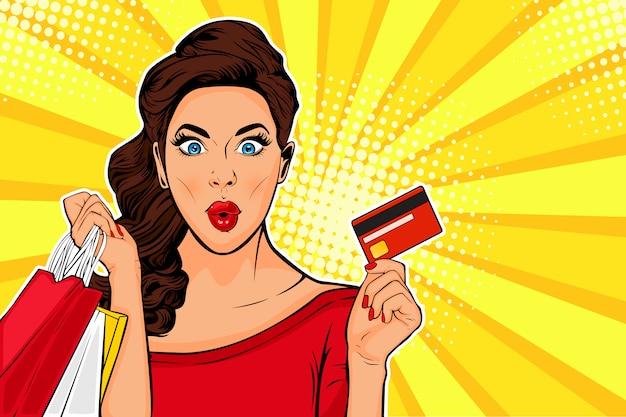 Pop art jovem mulher segurando sacolas de compras e cartão de crédito