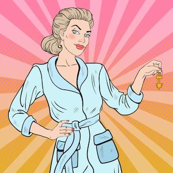 Pop art linda mulher loira com chave