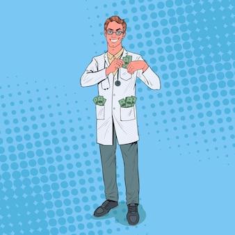 Pop art masculino corrupto médico coloca dinheiro no bolso