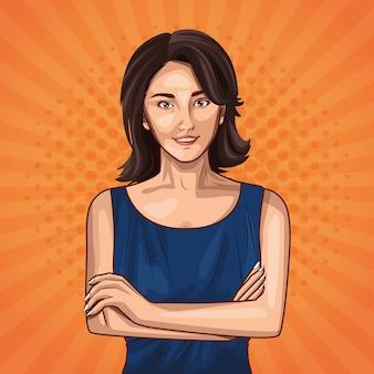 Pop art moda e mulher bonita dos desenhos animados